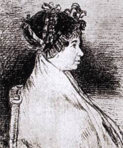 Charcoal drawing of Josefa Bayeu, Francisco de Goya
