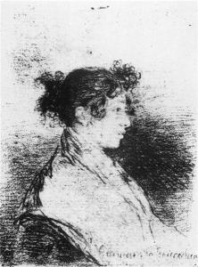 Charcoal drawing 'Gumersinda Goicoechea, de Goya's daughter-in-law', Francisco de Goya